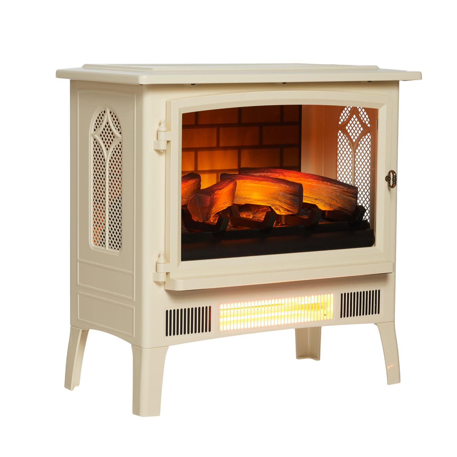 Powerheat Log Burner Style Infragen Heater W 3d Flame Effect Rocket Stove Diagram Oven Fireplace Earthen Pint Remote Qvc Uk