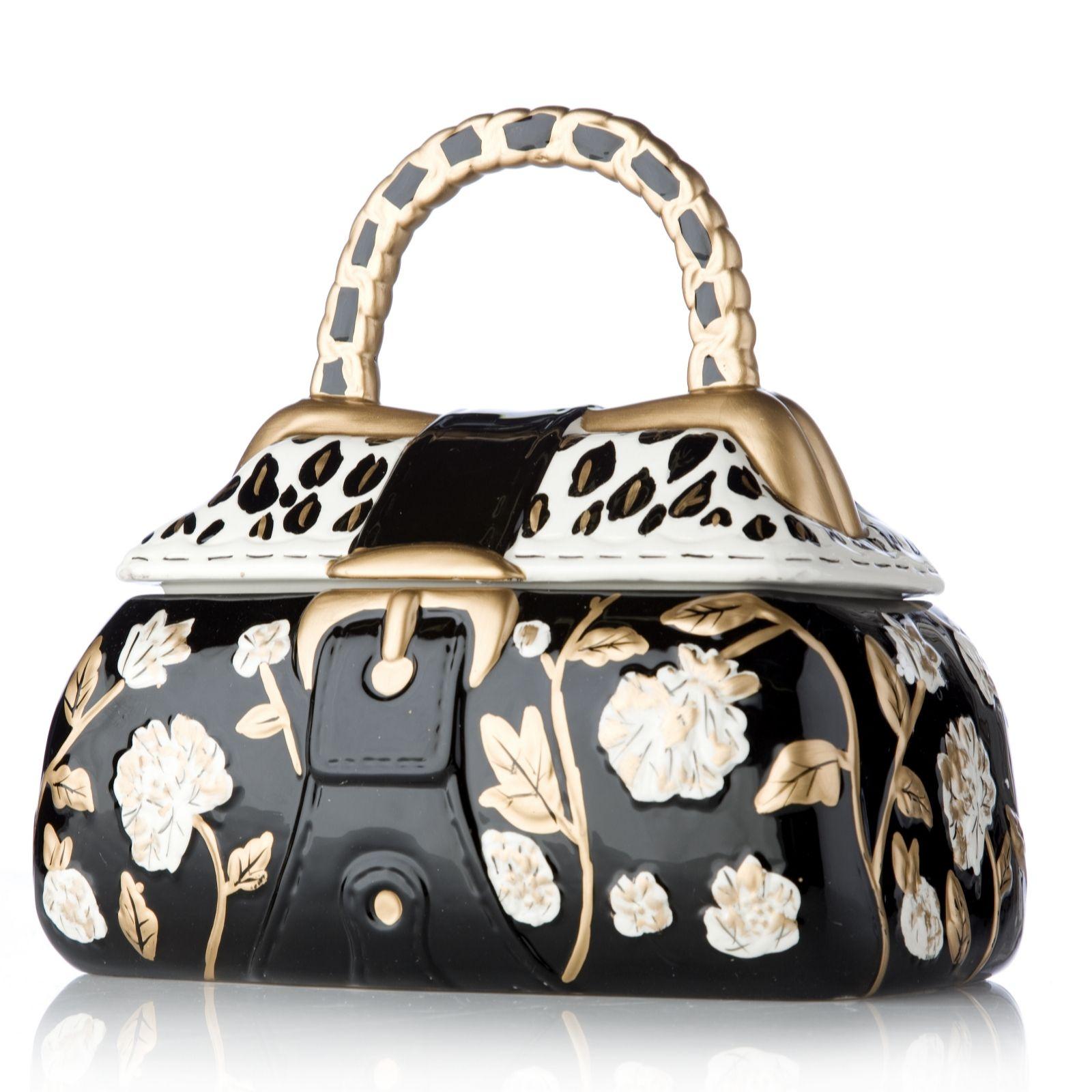 Adina Hand Painted Ceramic Handbag Cookie Jar Qvc Uk