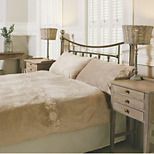Cozee Home Floral Embroidered Faux Mink & Fleece Duvet Set w/ Deep Fitted Sheet