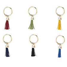 BundleBerry by Amanda Holden Set of 6 Tassel Wine Charms in Gift Box