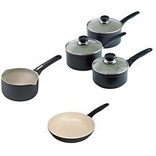 Kuhn Rikon Easy Ceramic 5pc Saucepan Set 16cm/18cm/20cm/ Milk & Frying Pan