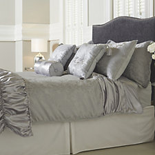 Mayfair Manor Ruffle Satin Damask Jacquard 10 Piece Bedding Collection