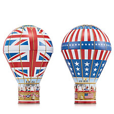 Churchills Set of 2 Mini Biscuits in Patriotic Hot Air Balloon Tins