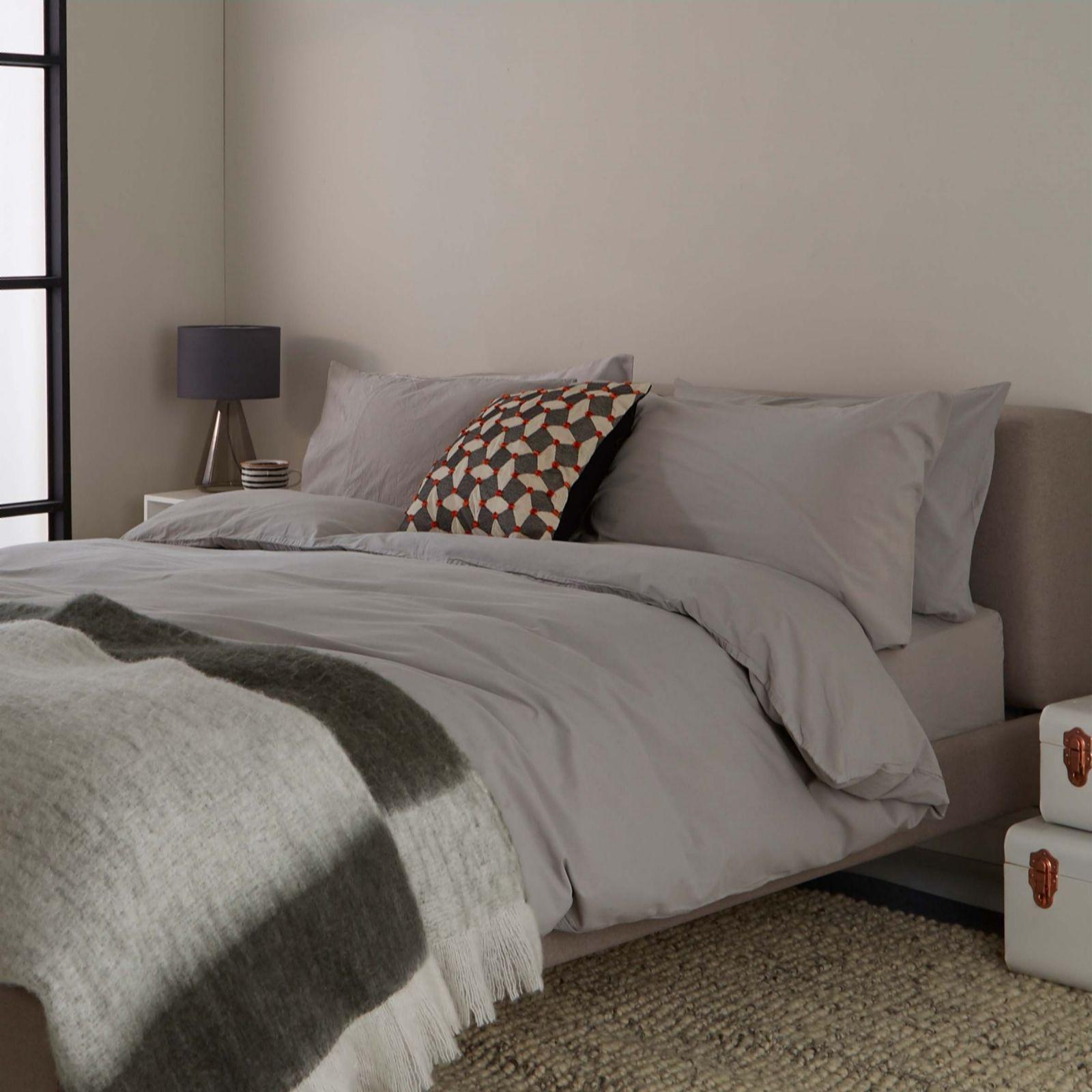 da4cc833372b Habitat Washed Stone Grey 100% Cotton Duvet Cover Set - QVC UK