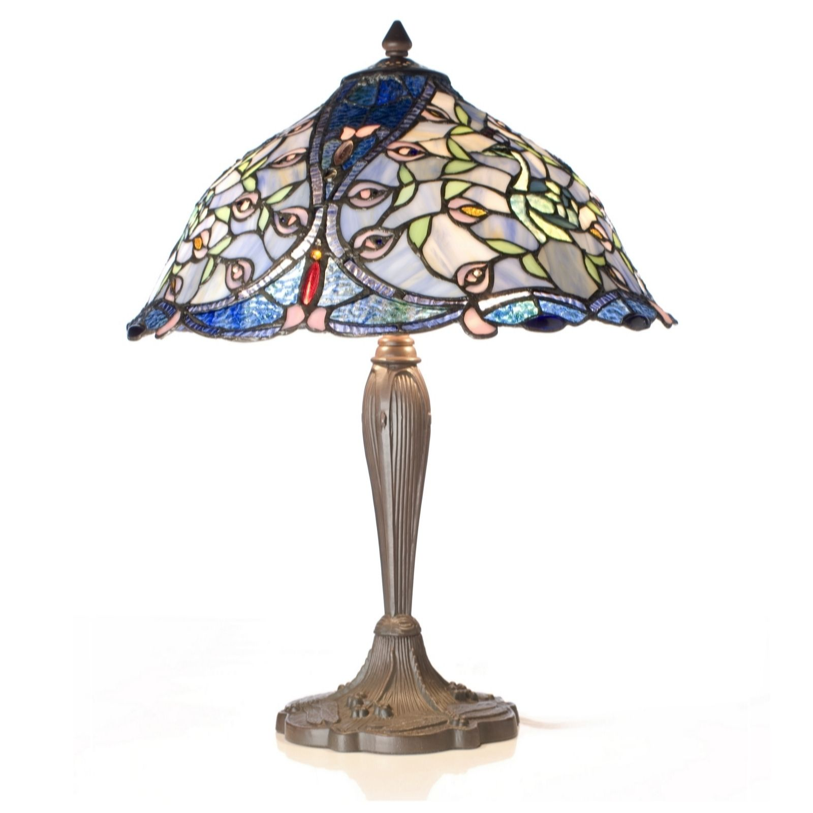 Tiffany Style Handcrafted Peacock Table Lamp - QVC UK