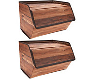 Set of 2 Fabric Storage Boxes with Lid - V35700