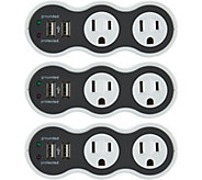 Revolve PowerCurve Mini Set of 3 Surge Protector Outlets w/USB - V34301