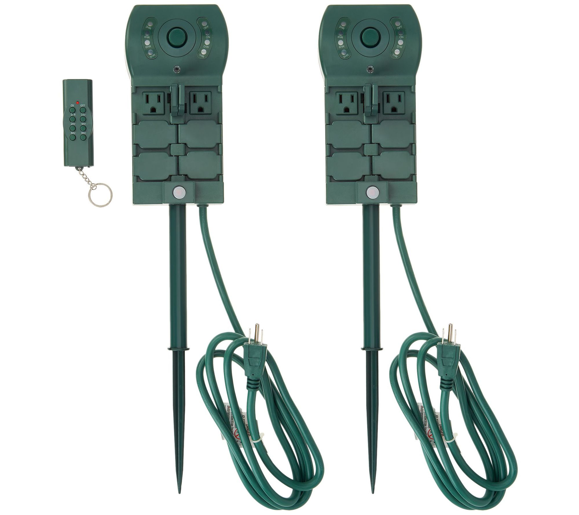 Holiday Time 6 Outlet Power Stake With Timer **Brand New**