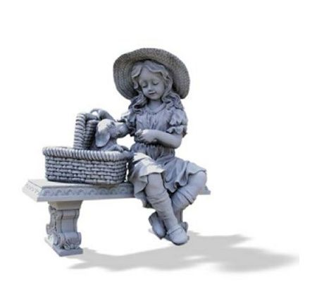 Girl And Puppy On A Bench Garden Statue U2014 QVC.com