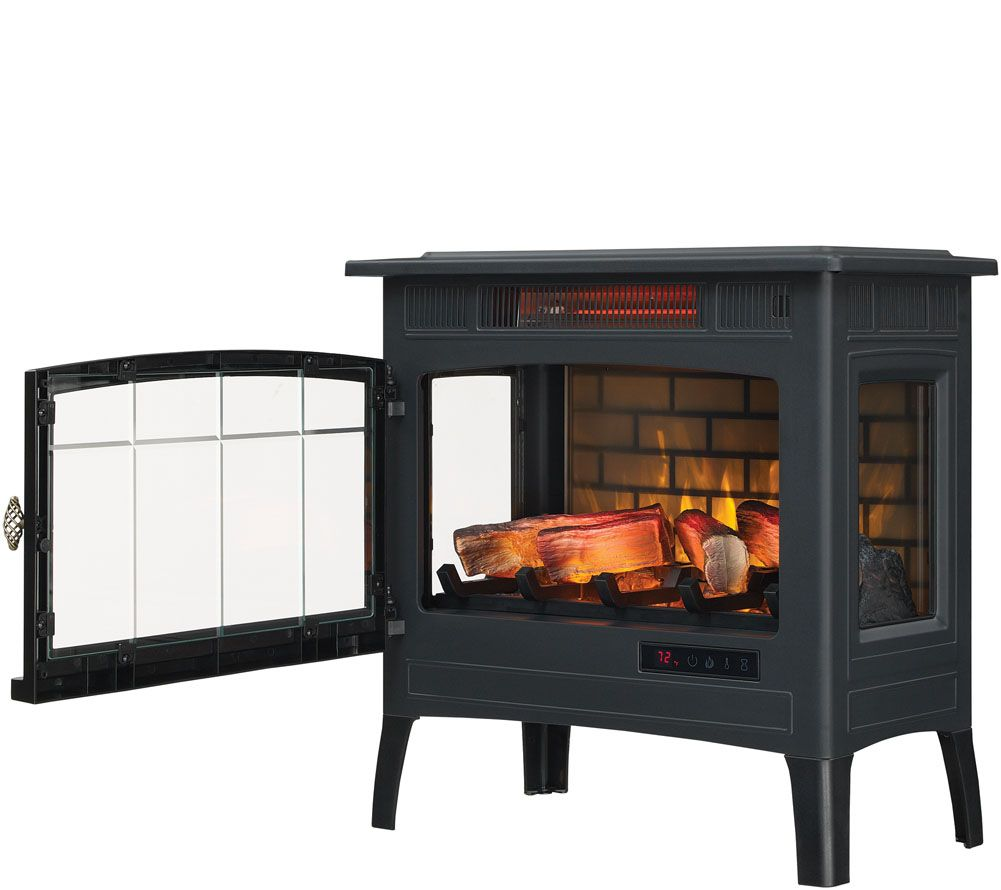 duraflame infrared quartz stove heater with 3d flame effect remote rh qvc com