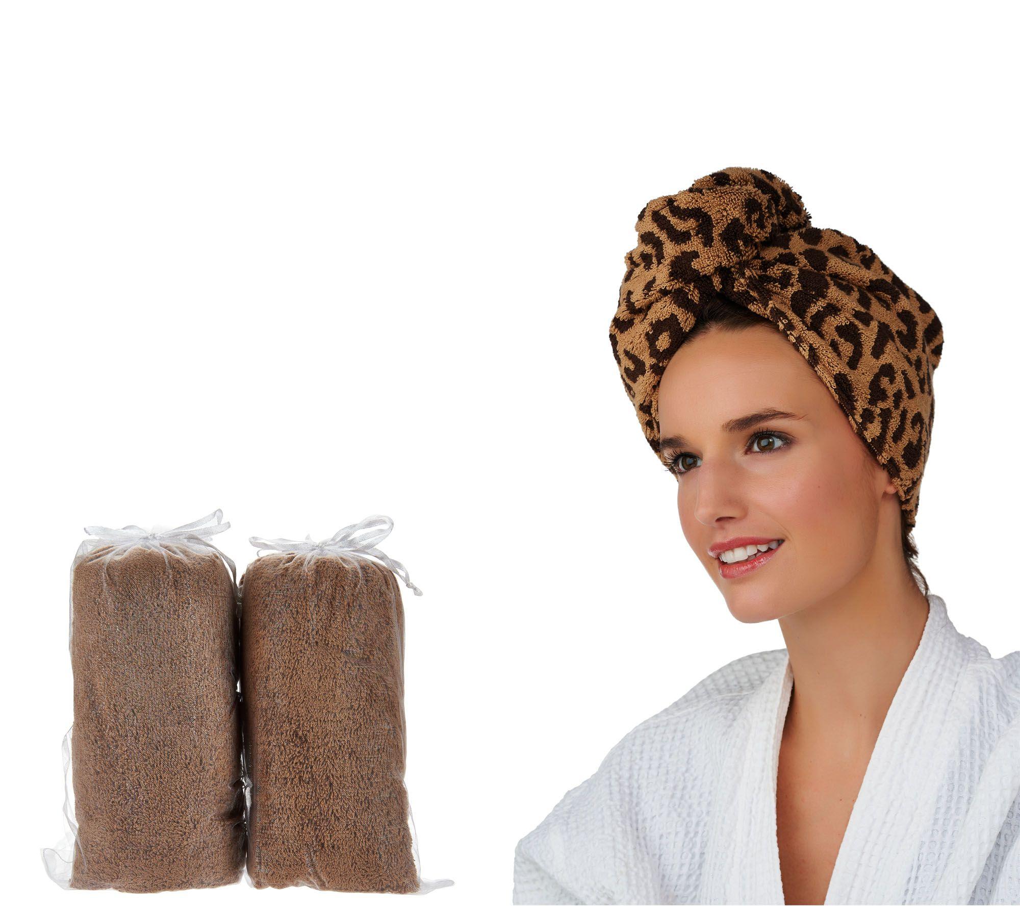 Set Of 3 Animal Print 100 Cotton Turbie Twist Hair Towels Page 1 Qvc