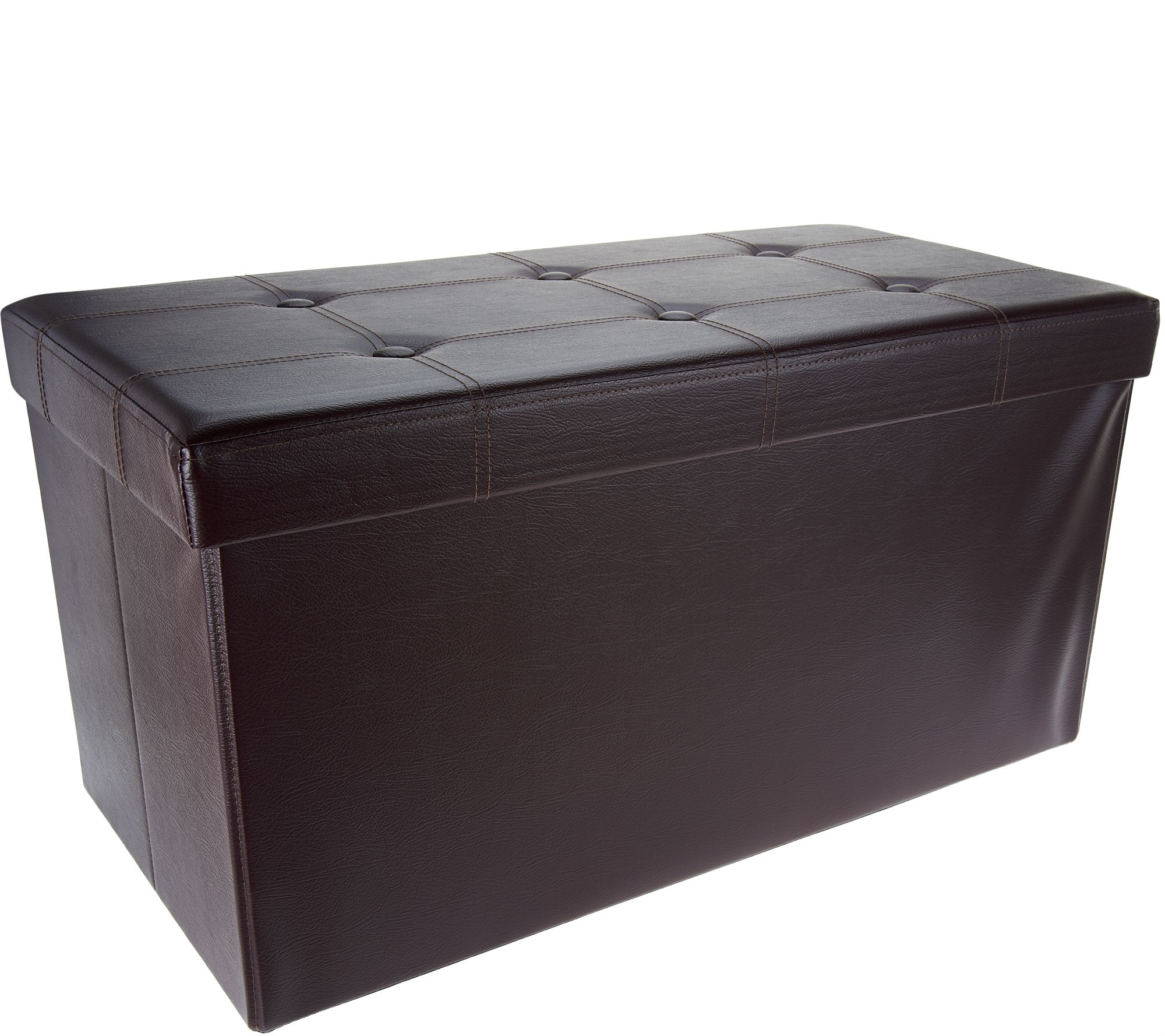Amazing As Is Fhe Faux Leather 30 Folding Storage Bench W Wooden Tray Qvc Com Unemploymentrelief Wooden Chair Designs For Living Room Unemploymentrelieforg