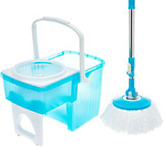 Clean Spin 360 Microfiber Mop w/ Collapsible Bucket System & Extra Mop Head - V35760
