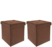 Fresh Home Elements Tufted Set of 2 (15) Folding Ottomans w/Tray - V35663