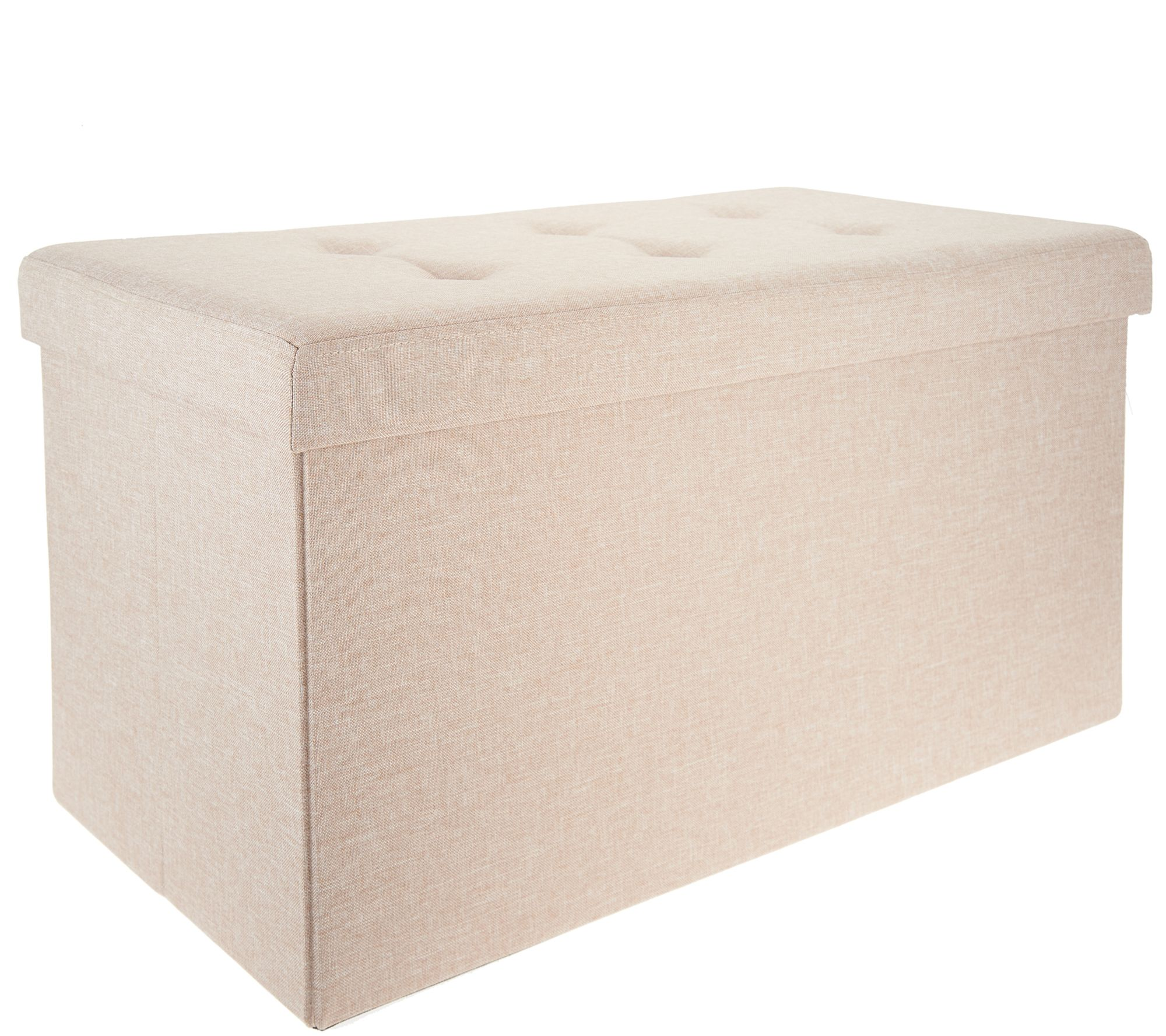 Strange Fresh Home Elements Tufted 30 Folding Storage Bench W Tray Qvc Com Andrewgaddart Wooden Chair Designs For Living Room Andrewgaddartcom