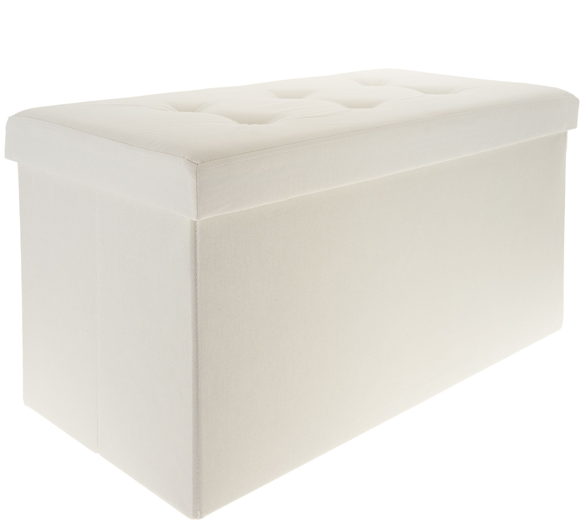 Fine Fresh Home Elements Tufted 30 Folding Storage Bench W Tray Qvc Com Gamerscity Chair Design For Home Gamerscityorg