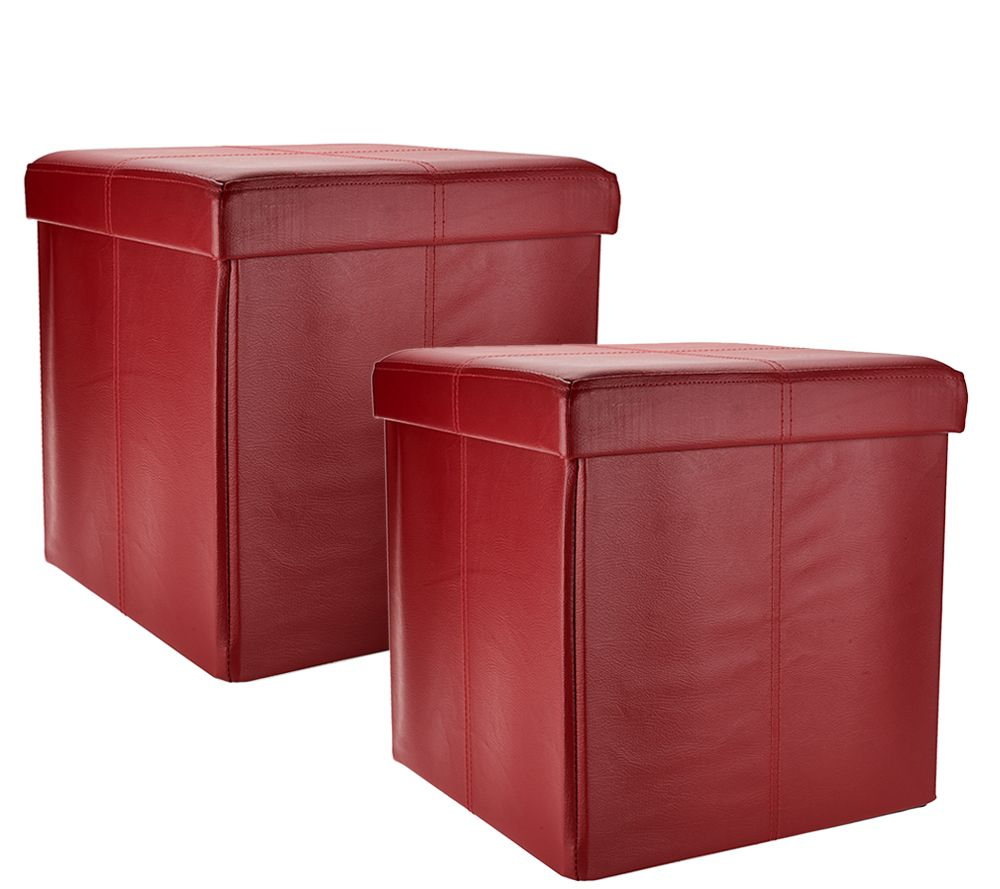 Set of 2 Faux Leather 15 Foldable Storage Ottomans Page 1 QVCcom