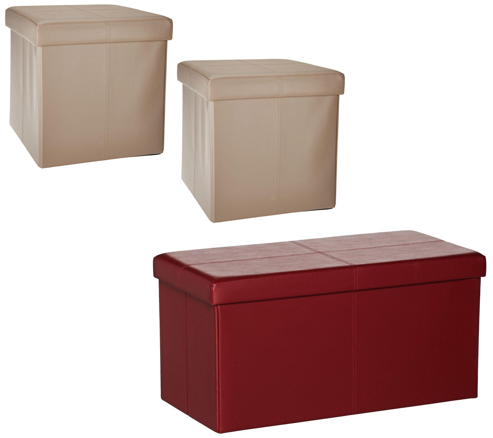 Faux Leather Folding 2 pc Ottoman Set or Storage Bench by FHE QVCcom