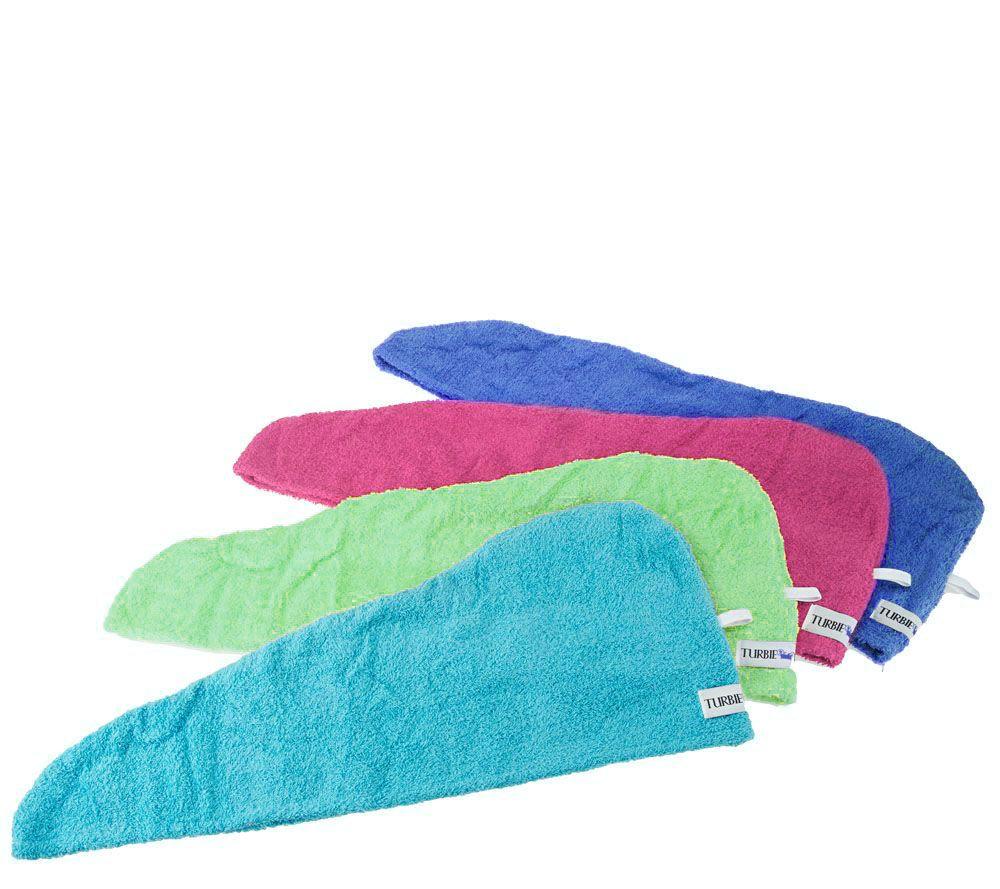 Set Of 4 Solid Color 100 Cotton Turbie Twist Hair Towels Page 1 Qvc
