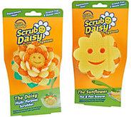 Scrub Daisy Set of 2 Scour Sunflower & Daisy Flower Scrubber Heads - V35495